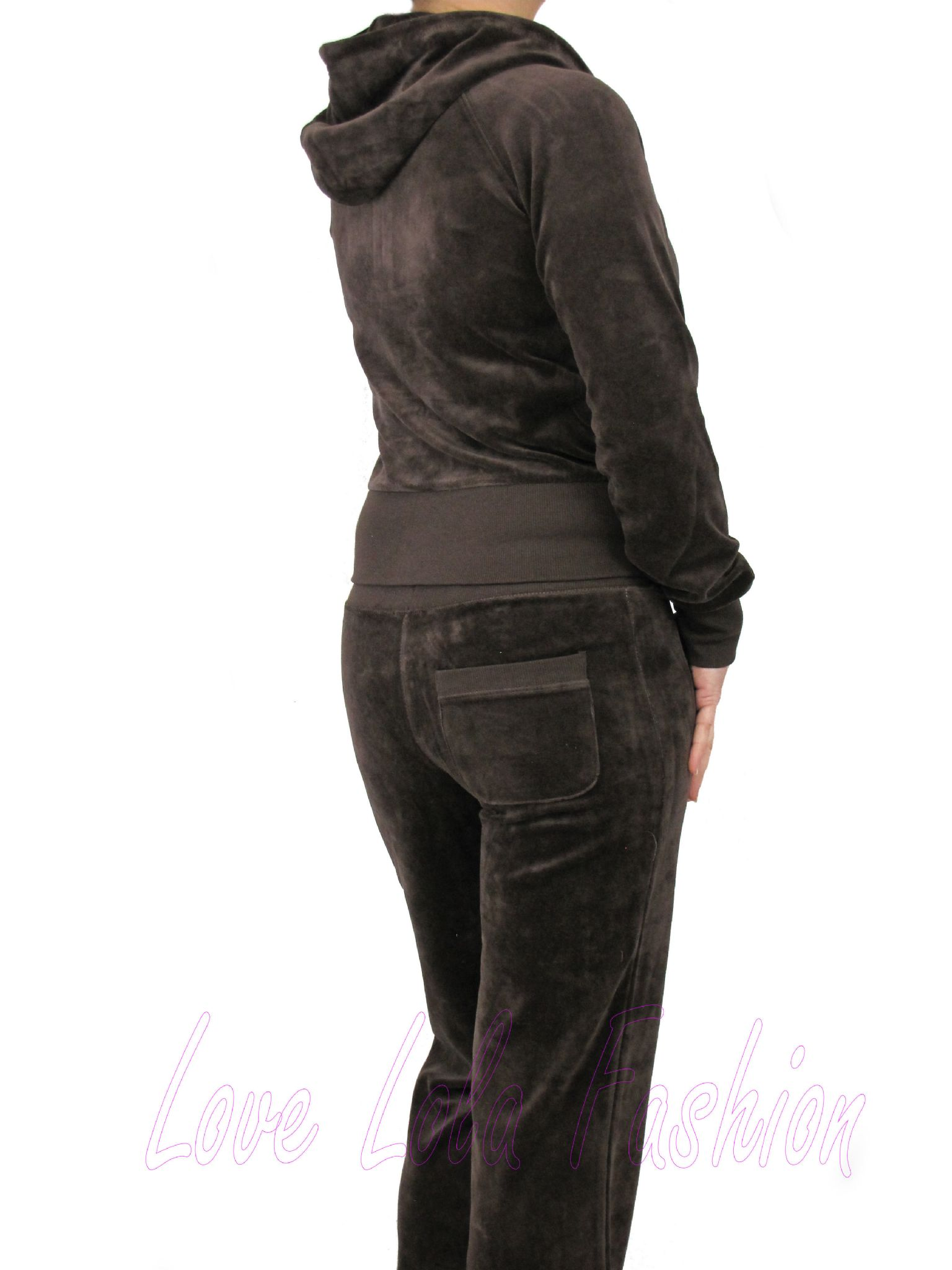 Love Lola Womens Velour Tracksuits Brown
